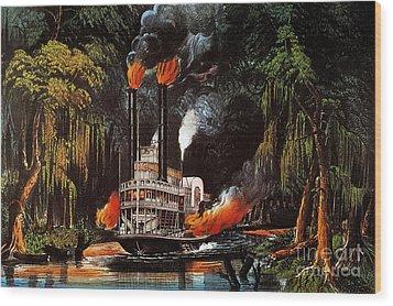 Louisiana: Steamboat, 1865 Wood Print by Granger