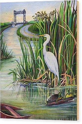 Louisiana Wetlands Wood Print by Elaine Hodges
