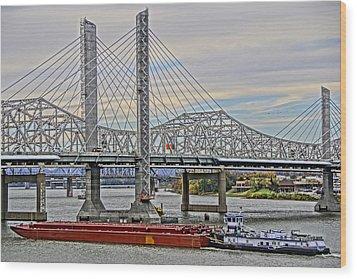 Louisville Bridges Wood Print by Dennis Cox WorldViews