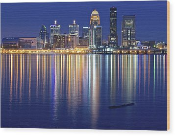 Louisville During Blue Hour Wood Print