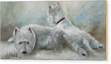 Lounge Wood Print by Mary Sparrow