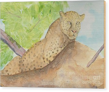 Wood Print featuring the painting Lounging Leopard by Vicki  Housel
