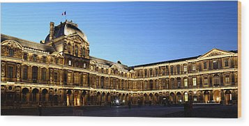 Wood Print featuring the photograph Louvre At Night 1 by Andrew Fare