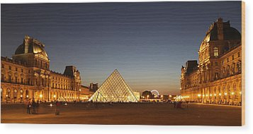Wood Print featuring the photograph Louvre At Night 2 by Andrew Fare
