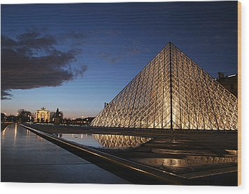 Louvre Puddle Reflection Wood Print by Joshua Francia