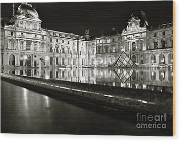 Wood Print featuring the photograph Louvre Reflections by Danica Radman
