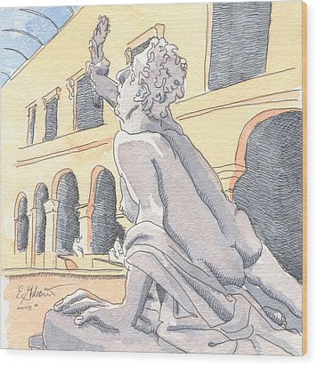 Louvre Sculpture Hall Wood Print by E Gibbons