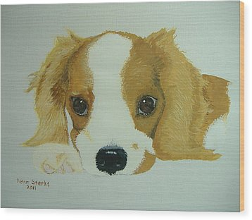 Wood Print featuring the painting Lovable Puppy by Norm Starks