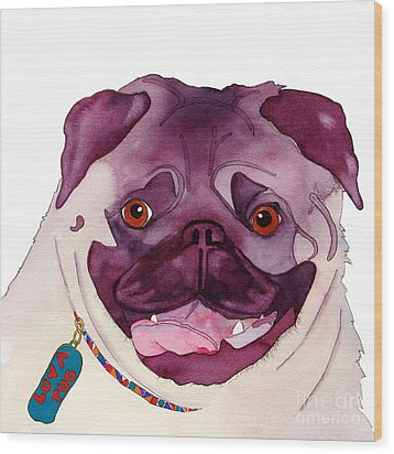 Love A Pug Wood Print by Jo Lynch