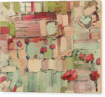 Wood Print featuring the mixed media Love Abstract by Carrie Joy Byrnes