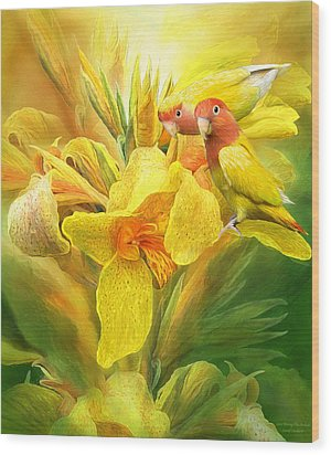 Wood Print featuring the mixed media Love Among The Orchids by Carol Cavalaris