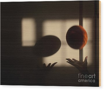 Love And Basketball Wood Print by Valerie Morrison