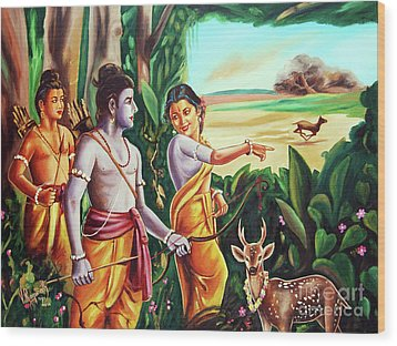 Love And Valour- Ramayana- The Divine Saga Wood Print by Ragunath Venkatraman