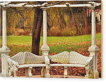 Love Bench Wood Print by Puzzles Shum