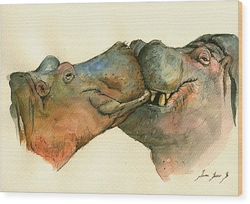 Love Between Hippos Wood Print