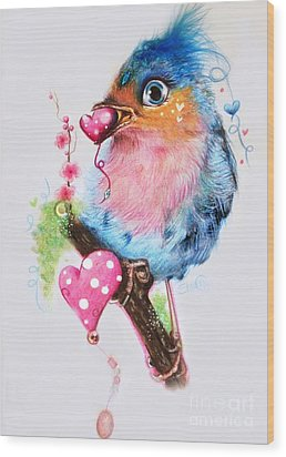 Love Bird Wood Print by Sheena Pike