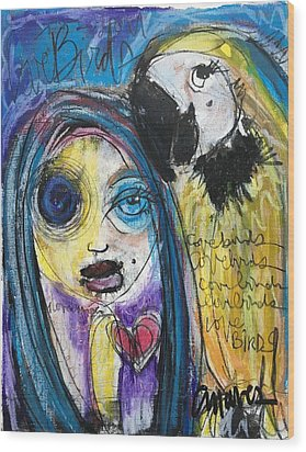 Love Birds Wood Print by Laurie Maves ART
