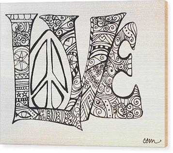 Love Bits Wood Print by Claudia Cole Meek