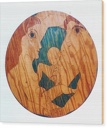Wood Print featuring the greeting card Love Circle by Rae Chichilnitsky