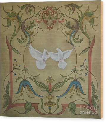 Love Doves Wood Print by Jindra Noewi