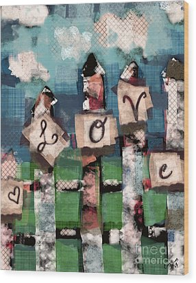 Wood Print featuring the mixed media Love Fence by Carrie Joy Byrnes