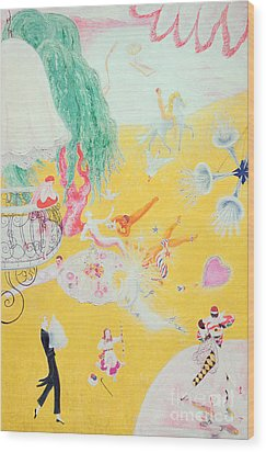 Love Flight Of A Pink Candy Heart Wood Print by  Florine Stettheimer