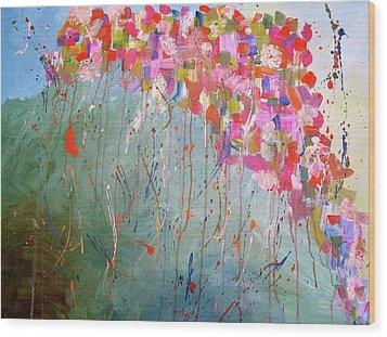 Love Flower Mountain Wood Print