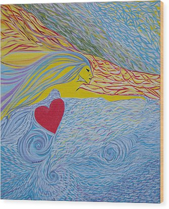 Wood Print featuring the painting Love For Ever by Sima Amid Wewetzer