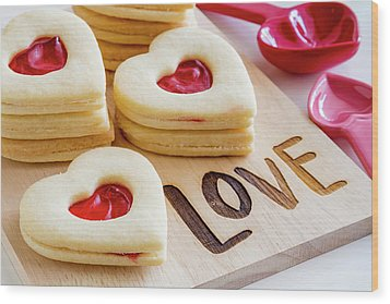 Wood Print featuring the photograph Love Heart Cookies by Teri Virbickis