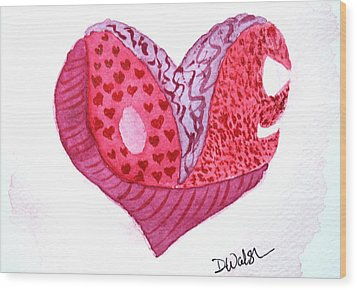 Wood Print featuring the painting Love Heart by Donna Walsh
