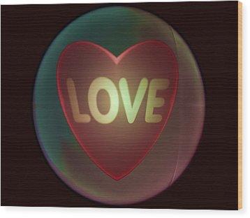 Love Heart Inside A Bakelite Round Package Wood Print