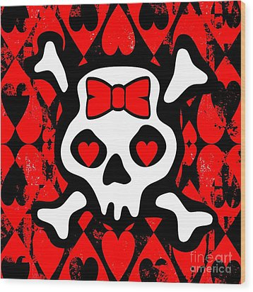 Love Heart Skull Wood Print by Roseanne Jones