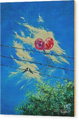 Love In Flight Wood Print