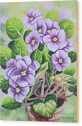 Wood Print featuring the painting Love In Purple 1 by Inese Poga