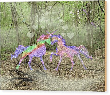 Love In The Magical Forest Wood Print by Rosalie Scanlon