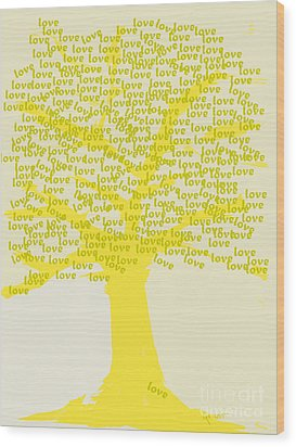 Wood Print featuring the painting Love Inspiration Tree by Go Van Kampen