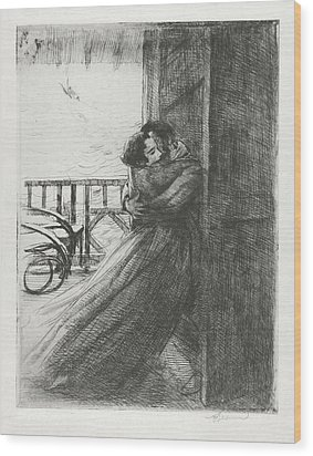 Wood Print featuring the drawing Love - La Femme Series by Paul-Albert Besnard