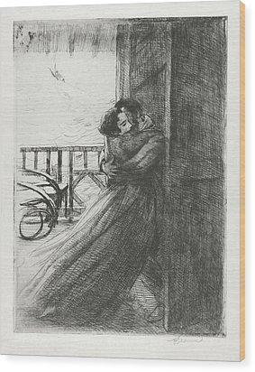 Wood Print featuring the drawing Love - La Femme Series by Paul-Albert Besnard