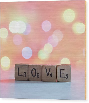 Love Lights Square Wood Print by Terry DeLuco