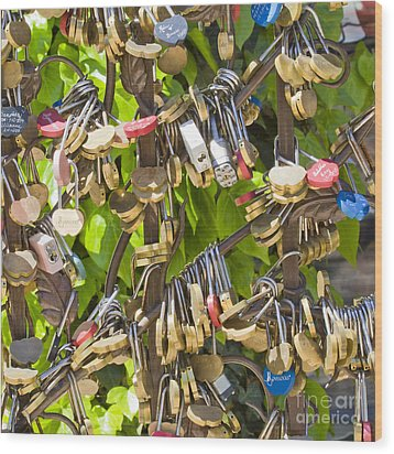 Wood Print featuring the photograph Love Locks Square by Chris Dutton