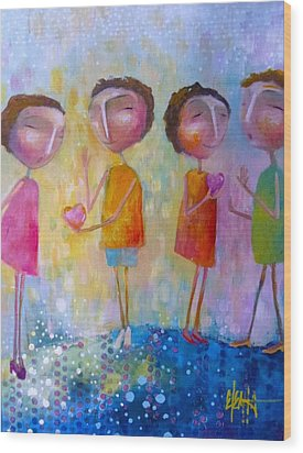 Wood Print featuring the painting Love One Another by Eleatta Diver