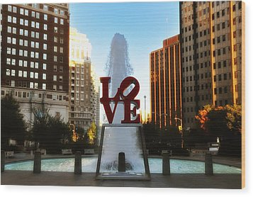 Love Park - Love Conquers All Wood Print