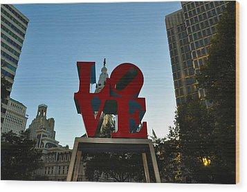 Love Park In Philadelphia Wood Print by Bill Cannon