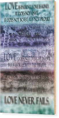 Wood Print featuring the digital art Love Rejoices With The Truth by Angelina Vick