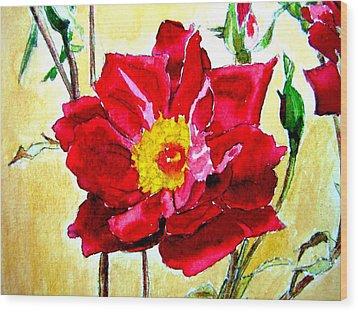 Love Rose Wood Print by Ana Maria Edulescu