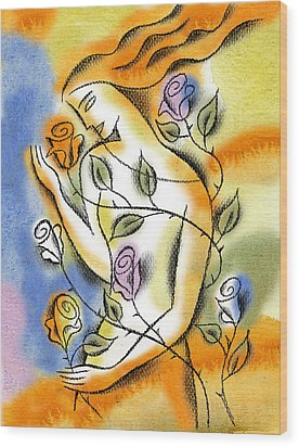 Wood Print featuring the painting Love, Roses And Thorns by Leon Zernitsky