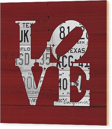 Love Sign Vintage License Plates On Red Barn Wood Wood Print by Design Turnpike