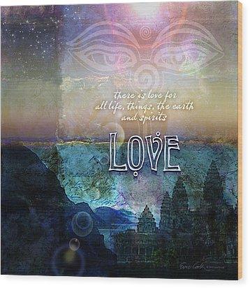Love Spiritual Wood Print by Evie Cook