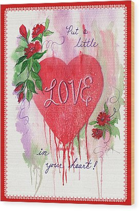 Wood Print featuring the painting Love Valentine by Marilyn Smith