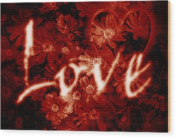 Love With Flowers Wood Print by Phill Petrovic